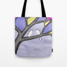 northern mockingbirds in the stained glass tree Tote Bag