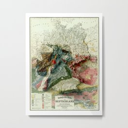 1869 Germany Relief Map 3D digitally-rendered Metal Print