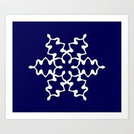 Wavy Blue Snowflake Art Print