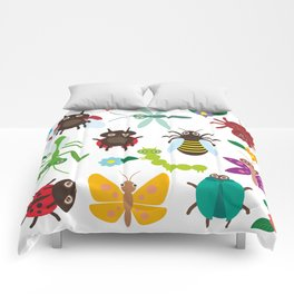 Funny insects Spider butterfly caterpillar dragonfly mantis beetle wasp ladybugs Comforters