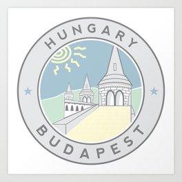 Budapest, Hungary, Fisherman's Bastion, circle gray Art Print