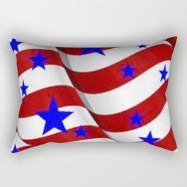 PATRIOTIC JULY 4TH BLUE STARS DECORATIVE ART Rectangular Pillow