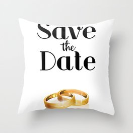 Save the Date Gold rings Throw Pillow