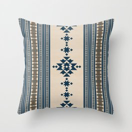 Navy Beige Tribal Pattern Throw Pillow