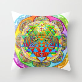 Inner Strength Psychedelic Tiger Sri Yantra Mandala Throw Pillow