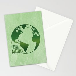 Earth Matters - Earth Day - Grunge Green 01 Stationery Cards