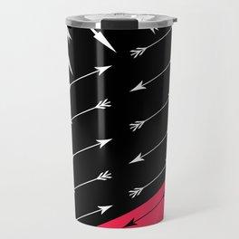 Red black , white pattern Arrow . Travel Mug