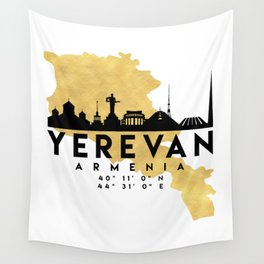 YEREVAN ARMENIA SILHOUETTE SKYLINE MAP ART Wall Tapestry