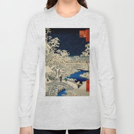 Ukiyo-e, Ando Hiroshige, Yuhi Hill and the Drum Bridge at Meguro Long Sleeve T-shirt