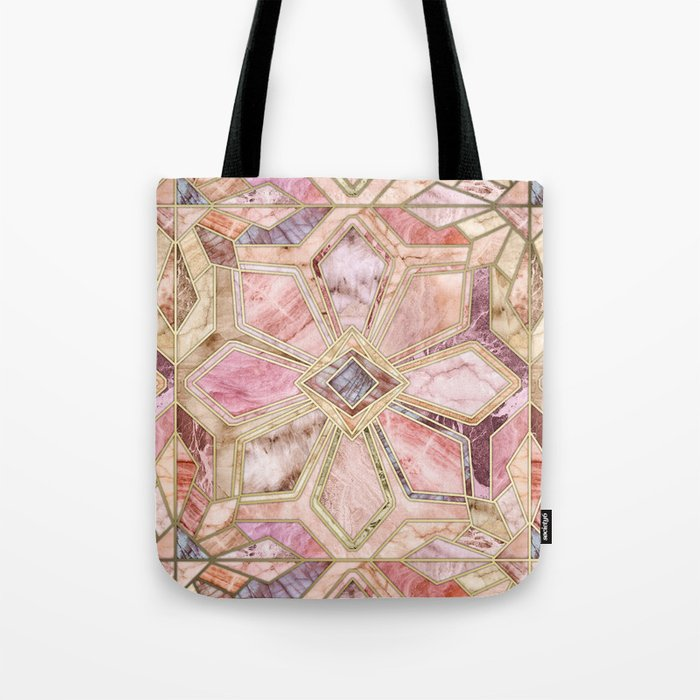 Geometric Gilded Stone Tiles in Blush Pink, Peach and Coral Tote Bag