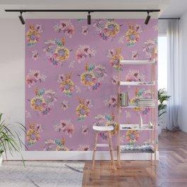 Meadow Flowers on Pastel Purple Wall Mural