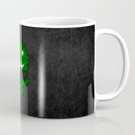 Flag of Pakistan on a Chaotic Splatter Skull Coffee Mug