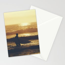 Sunset Surfer at Fistral Beach, Newquay, Cornwall Stationery Cards