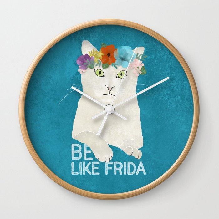 Be like Frida! White cat in flower crown on sky blue Wall Clock