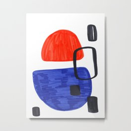 Mid Century Modern Abstract Minimalist Art Colorful Shapes Vintage Retro Style Orange Blue Shapes Metal Print