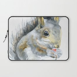 Gray Squirrel Watercolor Painting Laptop Sleeve