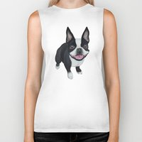 boston terrier Biker Tanks featuring Boston Terrier by PaperTigress
