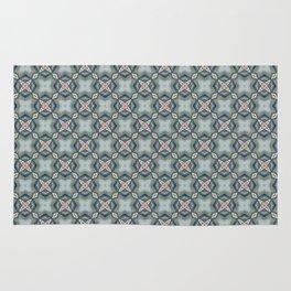 Blue & Coral Geometric Pattern Rug