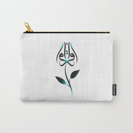 Arabic Read (Iqra) budding rose - Turquoise Carry-All Pouch