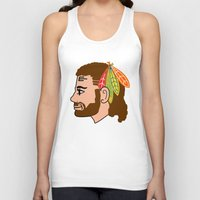 blackhawks Tank Tops featuring Respect the Beard/Mullet by fohkat