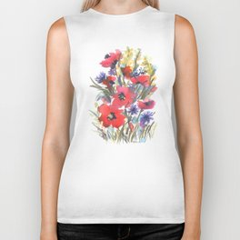 Big Poppy Field Biker Tank