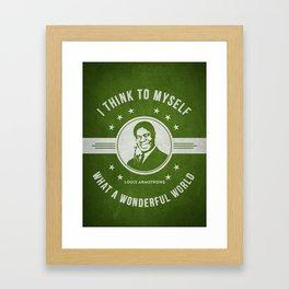 Louis Armstrong - Green Framed Art Print