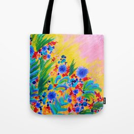 NATURAL ROMANCE in PINK - October Floral Garden Sweet Feminine Colorful Rainbow Flowers Painting Tote Bag
