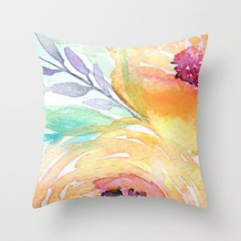 Yellow Roses Watercolor Throw Pillow