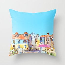 Pretty colorful houses street in old town with blue sky Throw Pillow