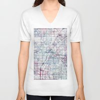 las vegas V-neck T-shirts featuring Las Vegas map by MapMapMaps.Watercolors
