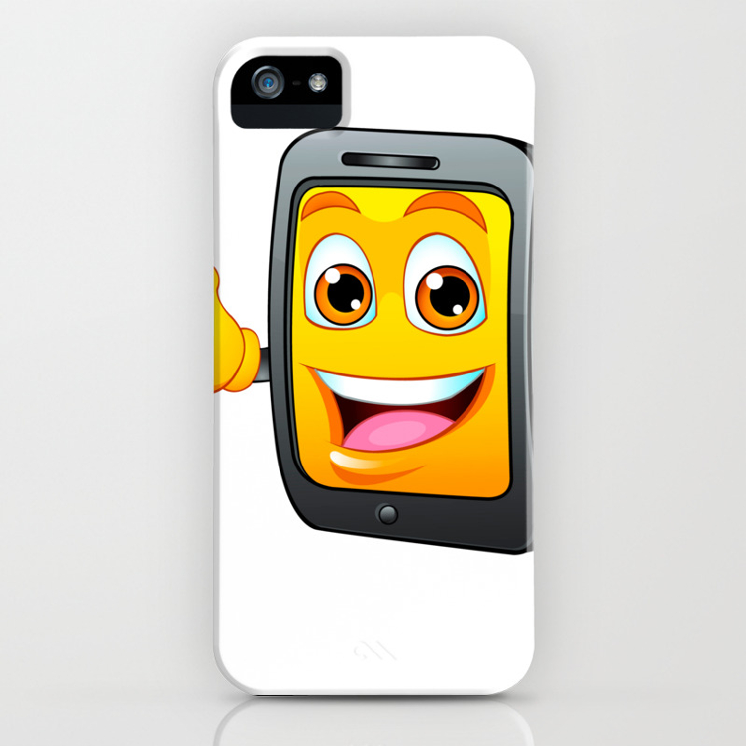 Yellow fun mobile phone cartoon with blue price tag dollar sign iPhone Case