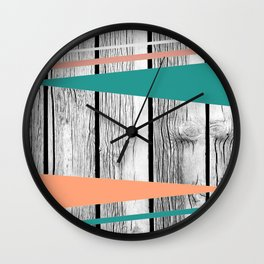 Colored arrows on wood Wall Clock