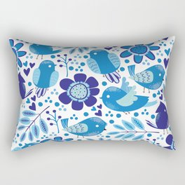 Doodle blue colored pattern with birds, leaf and flowers Rectangular Pillow