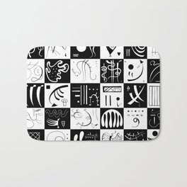Kandinsky - Black and White Pattern - Abstract Art Bath Mat