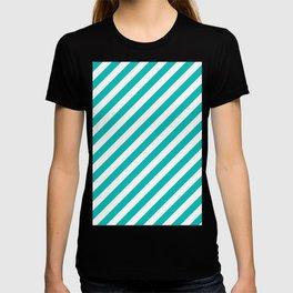 Diagonal Stripes (Tiffany Blue/White) T-shirt