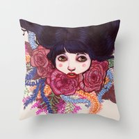 sandra dieckmann Throw Pillows featuring Sandra by Magali Almada