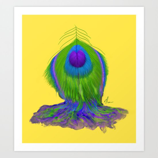 Melting Peacock Feather - Concept Painting Art Print