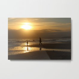 Walking at the beach Metal Print