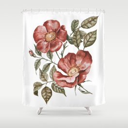 Red Floral Painting Shower Curtain