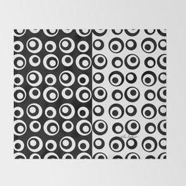 Mod Love Black/White Dots Circles Throw Blanket
