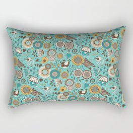 Scandinavian Flowers and Birds Rectangular Pillow