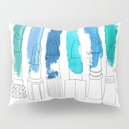 Lipstick Stripes - Blue Teal Turquoise Pillow Sham