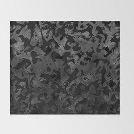 Modern Camo -Black and Dark Grey- camouflage Throw Blanket
