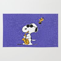 snoopy Area & Throw Rugs featuring Snoopy by DisPrints
