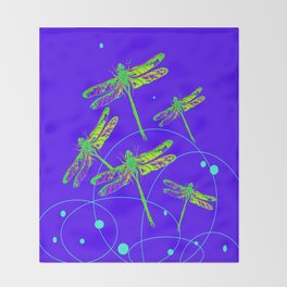 Green-Yellow Swamp Dragonflies Purple-Blue Pattern Abstract  Throw Blanket