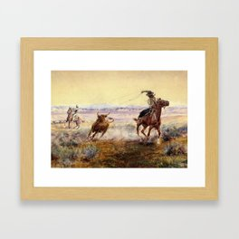 """""""On the Pond"""" by Charles M Russell Framed Art Print"""