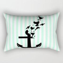 Mint Stripes with Anchor & Birds Rectangular Pillow