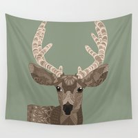 antlers Wall Tapestries featuring Antlers by ArtLovePassion