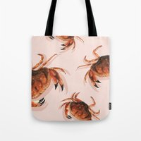 crab Tote Bags featuring Crab by Trinity Mitchell