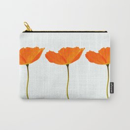 Three Orange Poppy Flowers White Background #decor #society6 #buyart Carry-All Pouch
